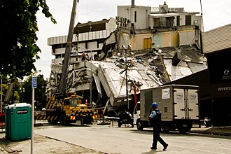 Christchurch - The collapsed Pyne Gould Building. Thirty of the building's two hundred workers were trapped within the building following the February earthquake.