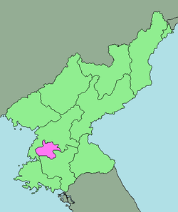 Map of North Korea with P'yŏngyang highlighted