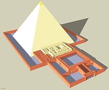 3 dimensional model of how the pyramid would have looked in its original completed state. From the east is the planned layout of the mortuary temple adjoining the main pyramid. Surrounding the pyramid is an enclosing wall that represents the courtyard.