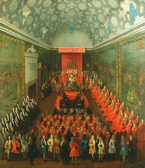 House of Lords - Queen Anne addressing the House of Lords, c. 1708–14, by Peter Tillemans