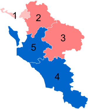 Charente-Maritime's 1st constituency - Results in the Charente-Maritime's five constituencies in 2012 : pale pink (Miscellaneous left), pink (PS), blue (UMP)