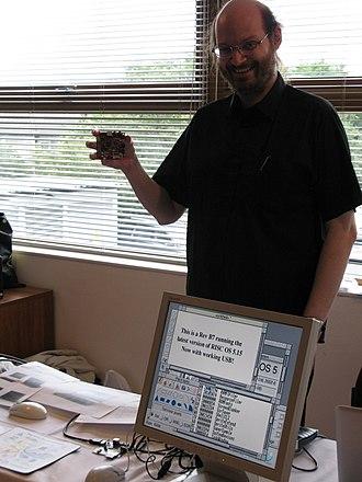 RISC OS Open - Ben Avison showing a BeagleBoard in 2009