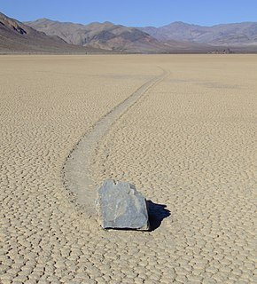Sailing stones Geological phenomenon where rocks move and inscribe long tracks along a smooth valley floor without human or animal intervention