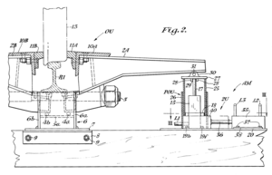 Retarder (railroad) - A type of car retarder. As the cylinder 15 pushes an end of the lever 2A, the rotation motion of the lever 2A pivoted at the rod 4a makes the brake shoe 11A at the opposite end thrust against the wheel 13, so as to brake the car. Peter M. Noble, United States Patent 3,827,533, 1974.