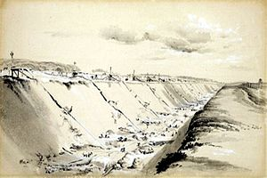 John Cooke Bourne - Original watercolour of the railway construction at Tring, 1837