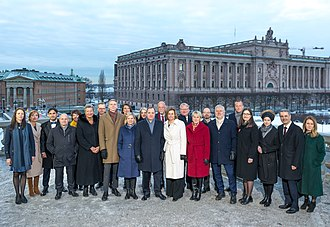 Löfven II Cabinet - The Löfven II cabinet outside the Stockholm Royal Palace, January, 2019.