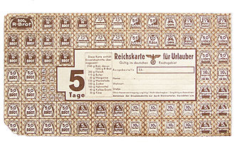 Ration stamp - German ration stamp for a person in holiday/vacation during World War II (5-day-stamp)