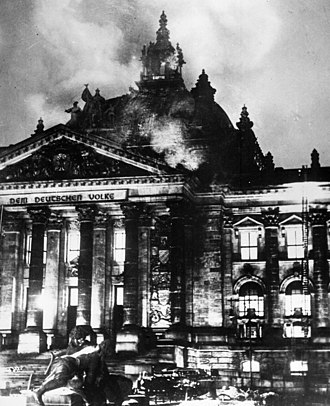 Reichstag fire - Firefighters struggle to extinguish the fire.