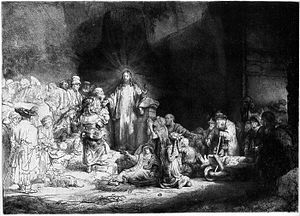 Ach, lieben Christen, seid getrost, BWV 114 - Jesus heals the sick by Rembrandt, as in the prescribed gospel, 1649