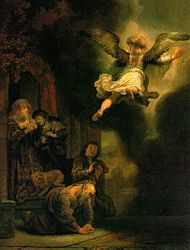 Rembrandt: The Angel Raphael Leaving Tobit and His Family