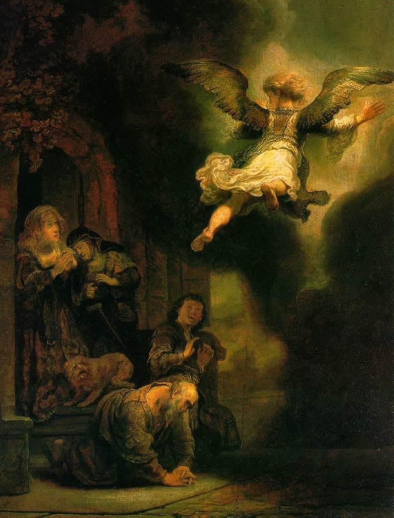 Rembrandt De aartsengel verlaat Tobias en zijn gezin. 1637