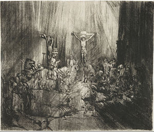 Rembrandt Harmensz. van Rijn, Dutch (active Leiden and Amsterdam) - Christ Crucified between Two Thieves (The Three Crosses) - Google Art Project.jpg