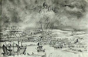 "The Legend of Thyl Ulenspiegel and Lamme Goedzak - ""Thyl Ulenspiegel and Nele in Flanders"" pen drawing by the Belgian artist René De Coninck (1907-1978)"