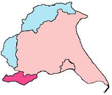 Konturkarta över den historiska och ceremoniella East Riding of Yorkshire -gränserna