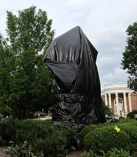 Lee sculpture covered in black tarp following the Unite the Right rally of 2017 Robert Edward Lee sculpture covered in tarp.jpg
