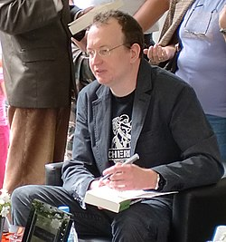 Robert at a CHERUB book signing in Lisbon (2011)