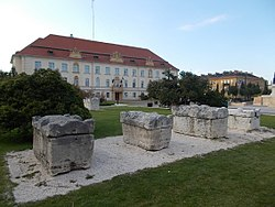 Roman sarcophagus and Elementary school at the Szabadság Square, Komárom, Hungary.jpg