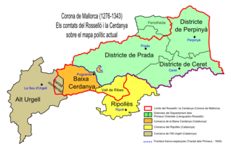 Cerdanya - The ancient counties of Rosselló and Cerdanya on a present-day political map