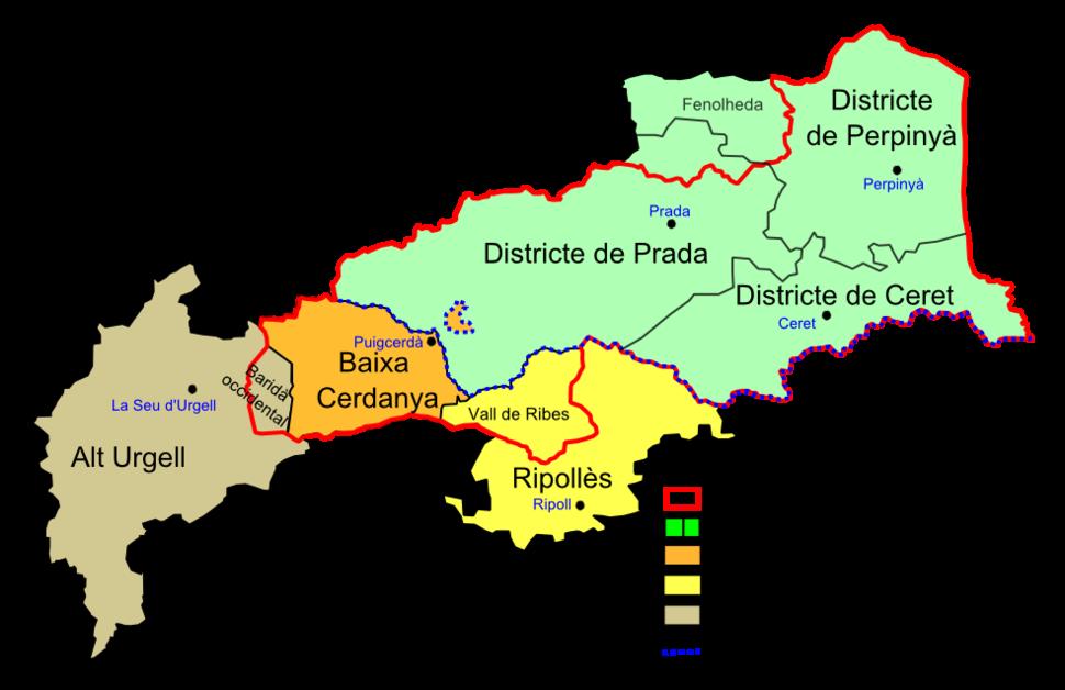 Rosselló i Cerdanya sobre mapa actual