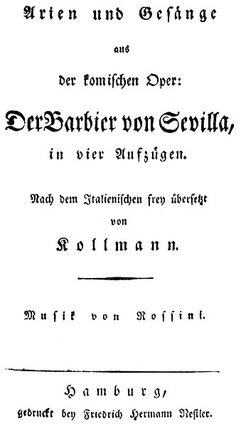 Datei:Rossini - Der Barbier von Sevilla - titlepage of the libretto - Hamburg ca 1820.jpg