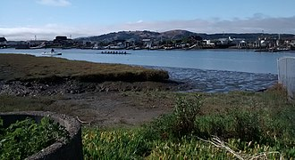 Corte Madera Creek (Marin County, California) - Image: Rowers on Corte Madera Creek
