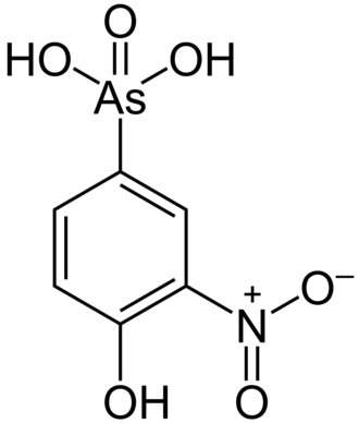 Organometallic chemistry - Roxarsone is an organoarsenic compound used as an animal feed.