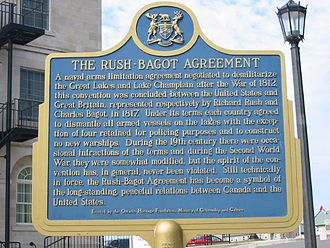 Rush–Bagot Treaty - Rush–Bagot Treaty plaque at Kingston, Ontario