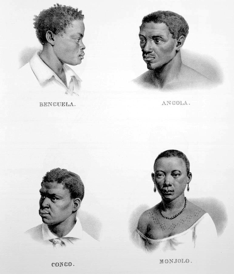 Rugendas - Escravos Benguela, Angola, Congo, Monjolo