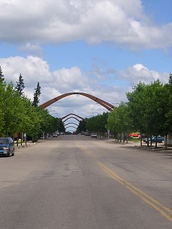 A view of arches spanning Main Street in Russell, summer of 2008.