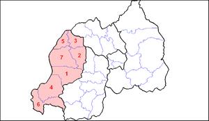 Western Province, Rwanda - Image: Rwanda West Prov Dists