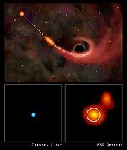 En haut: Vue d'artiste d'un trou noir supermassif absorbant de la matière dans la galaxie RXJ 1242-11. En bas à gauche: Photo prise dans les rayons X avec le télescope Chandra. En bas à droite: photo optique prise par l'ESO.