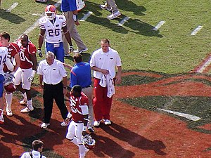 Ryan Mallett - Mallett during a postgame handshake with the Florida Gators during the 2008 season