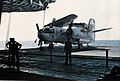 S-2G Tracker of VS-38 on elevator of USS Kitty Hawk (CV-63) c1974.jpg