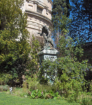 Papal Basilica of Saint Mary of the Angels in Assisi - Rose garden - bronze statue by V. Rossignoli (1916).