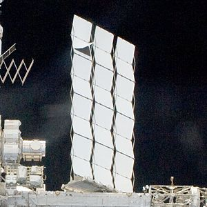 International Space Station maintenance - The damaged S1 radiator on the ISS starboard truss.