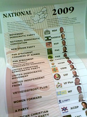South African general election, 2009 - Election ballot.