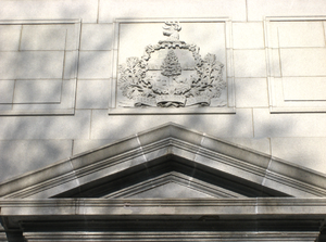 Vermont Supreme Court - Detail of Vermont's coat of arms above the Court's main entrance.