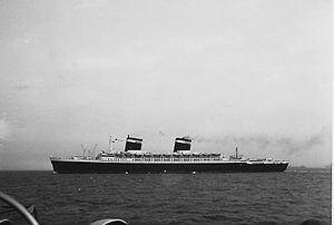 SS United States - Liner United States photographed from Portsmouth on return maiden voyage to New York, summer 1952