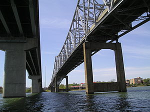 "Tennessee River - The ""Steamboat Bill"" Hudson Memorial Bridge in Decatur, Alabama."