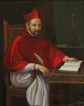 Saint Robert Bellarmine SJ, writer of the Disputationes de controversiis christianae fidei Saint Robert Bellarmine.png