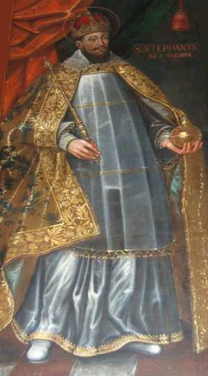 Coronations in Poland - Sigismund III of Poland as rex sacerdos in coronation robe, (depicted as Saint Stephen I of Hungary)