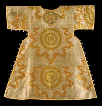 Sakkos - 17th-century sakkos. It has 16 buttons on each side, plus 1 at the collar to make a total of 33: the traditional number of years in the earthly life of Jesus (Benaki Museum, Athens, Greece).
