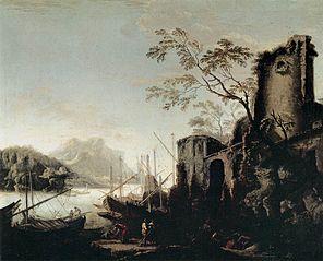 Paysage maritime avec tours