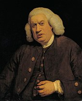 A half-length portrait of an elderly, and overweight, gentleman.  He wears a brown waistcoat and blazer, with gold buttons, a white collar, and a grey wig.  His left hand hovers close to his abdomen.  The background is a dark, solid blue/black.