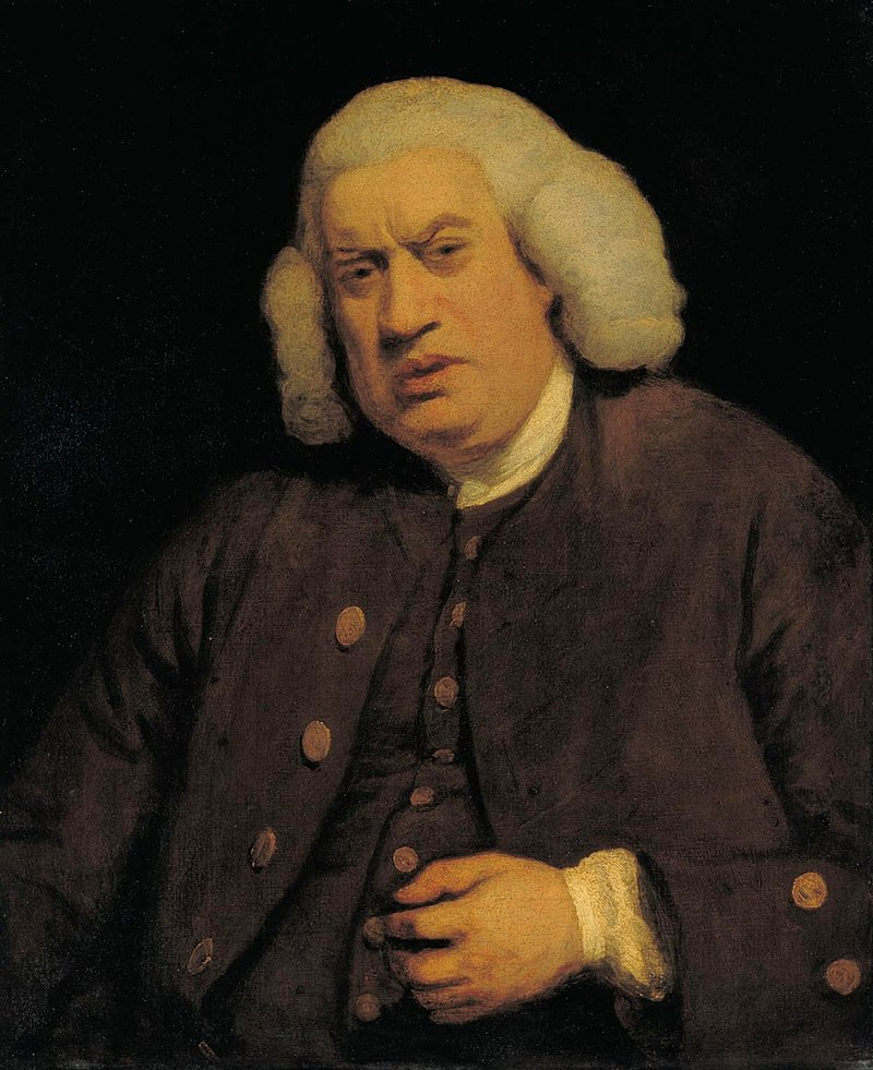 Portrait of Samuel Johnson in 1772 painted by Sir Joshua Reynolds
