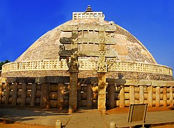 The Great Stupa of Sanchi is a UNESCO World Heritage Site in Madhya Pradesh.