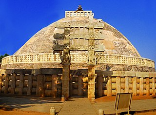 Sanchi Buddhist complex, famous for its Great Stupa, in Madhya Pradesh, India