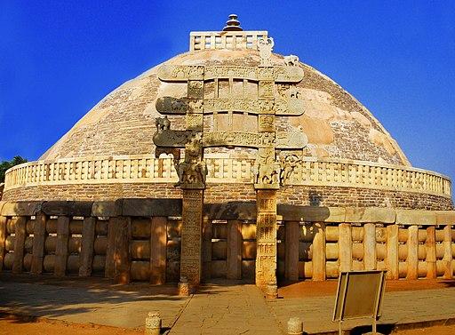 Sanchi Stupa from Eastern gate, Madhya Pradesh