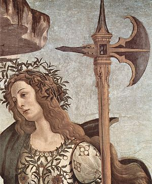 Pallas and the Centaur - Detail of Pallas's Halberd and face