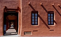 All the buildings are southwestern adobe in style.